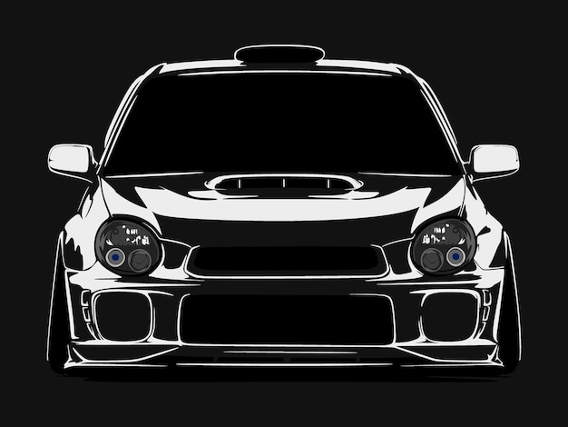 Realistische coole auto silhouette Premium Vektoren