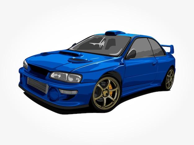 Realistische coole blaue autodetailkunst Premium Vektoren