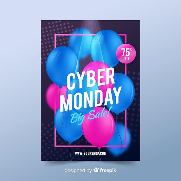 Realistische cyber montag plakat vorlage Kostenlosen Vektoren