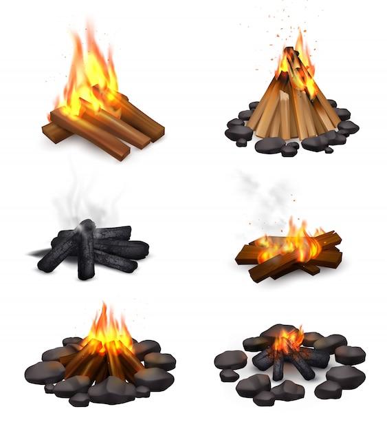 Realistische dampfende lagerfeuersammlung Kostenlosen Vektoren