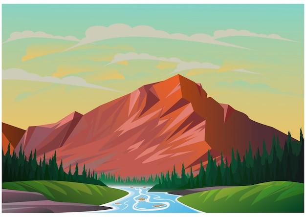Realistische darstellung der berglandschaft Premium Vektoren
