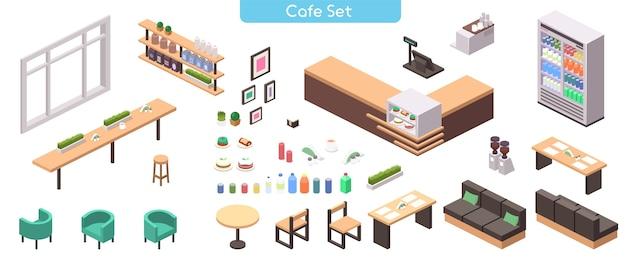 Realistische darstellung des café- oder cafeteria-möbelsets. isometrische ansicht von tischen, sofa, sitzen, theke, registrierkasse, kuchen, vitrine, flasche, regal, kaffeemaschine, dekorationsobjekten Premium Vektoren