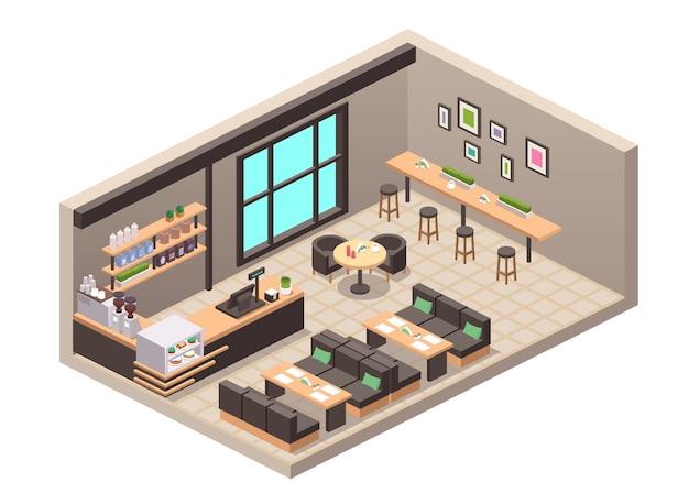 Realistische darstellung von café oder cafeteria. isometrische ansicht des innenraums, der tische, des sofas, der sitze, der theke, der registrierkasse, der kuchen-desserts im schaufenster, der abgefüllten getränke im regal, der kaffeemaschine, des dekors Premium Vektoren