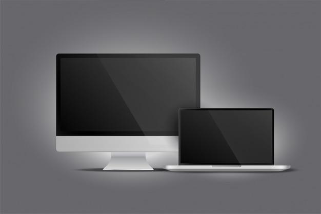 Realistische darstellung von monitor-desktop und laptop Kostenlosen Vektoren