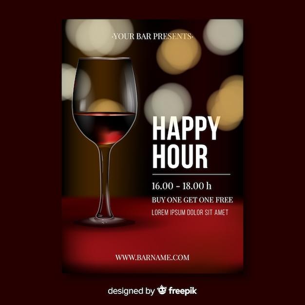 Realistische design happy hour plakat vorlage Kostenlosen Vektoren