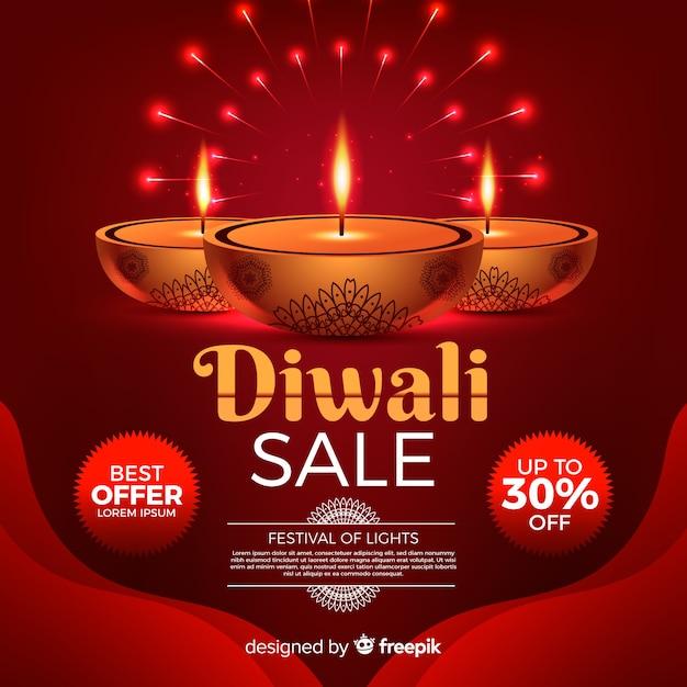 Realistische diwali festival sale banner Kostenlosen Vektoren