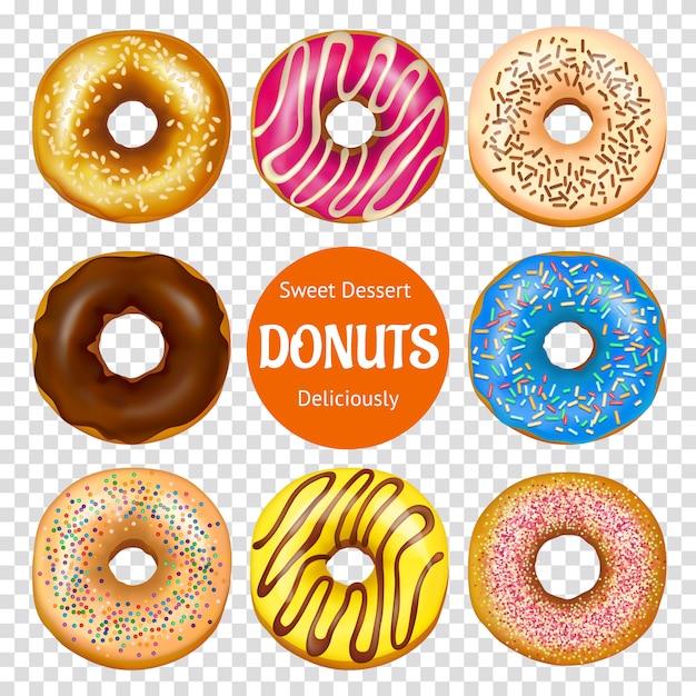 Realistische donuts set Kostenlosen Vektoren