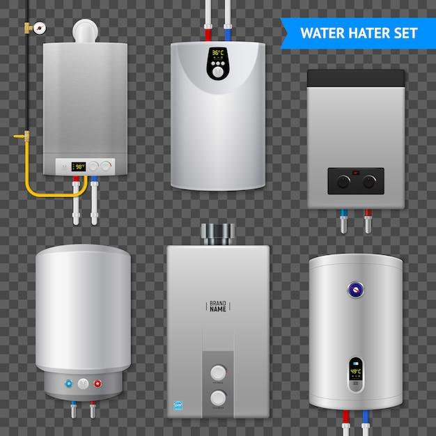 Realistische elektrische ikone des elektrischen warmwasserbereiters kessel gesetzt mit isolierten elementen auf transparent Kostenlosen Vektoren
