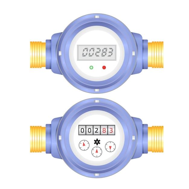 Realistische elektronische und analoge wasserzählervektorillustration. sanitäre ausstattung Premium Vektoren
