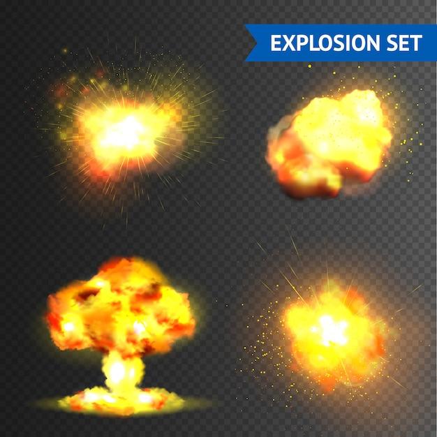 Realistische explosions-set Kostenlosen Vektoren