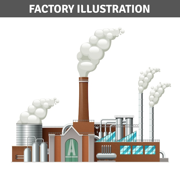 Realistische fabrikgebäudeabbildung mit dampf und kühlsystem Kostenlosen Vektoren