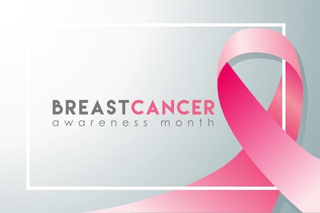 Realistische fahne des brustkrebs-bewusstseinsmonats Premium Vektoren
