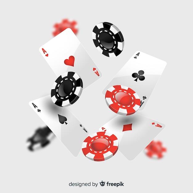 Realistische fallende kasinochips und -karten Kostenlosen Vektoren