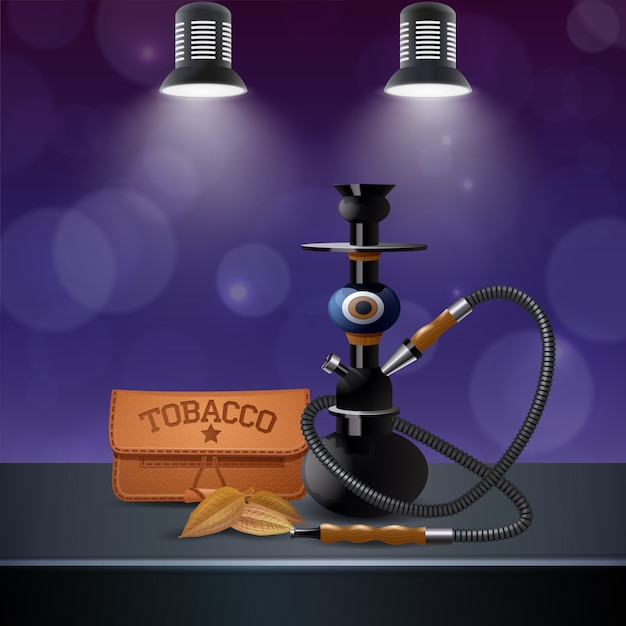 Realistische farbige tabakzusammensetzung Kostenlosen Vektoren