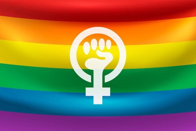 Realistische feministische flagge mit regenbogenfarben Kostenlosen Vektoren