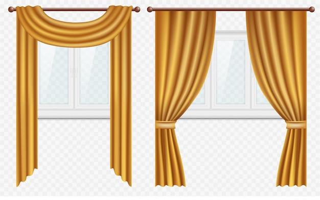 Realistische fenster mit vorhängen und vorhängen Premium Vektoren