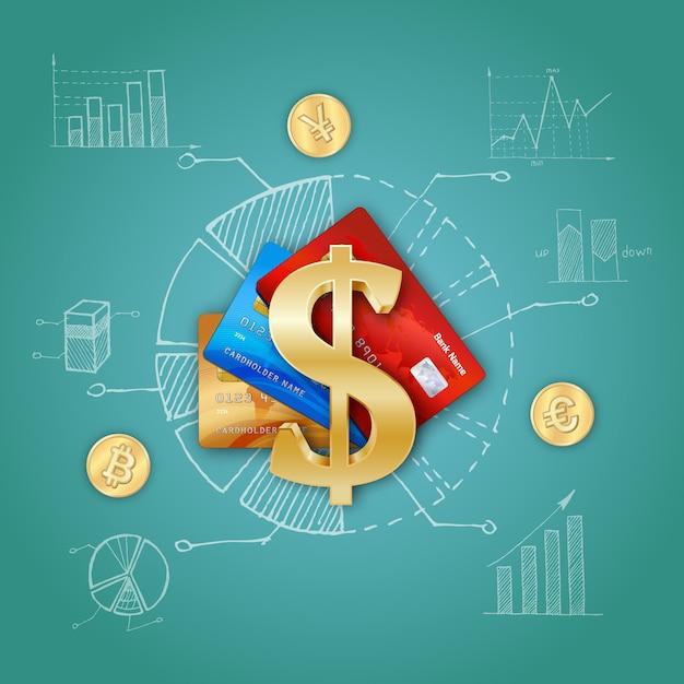 Realistische finanzvorlage Kostenlosen Vektoren