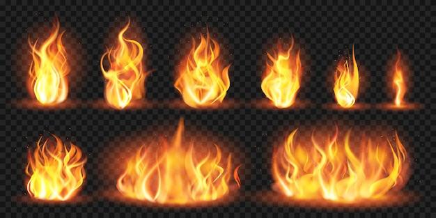 Realistische flammen. brennende rote verheerende flammen, lodernde feurige flammenschübe, brennende lagerfeuer-silhouette-illustrationsset. feurig rot, verheerendes feuer, brennende flamme Premium Vektoren