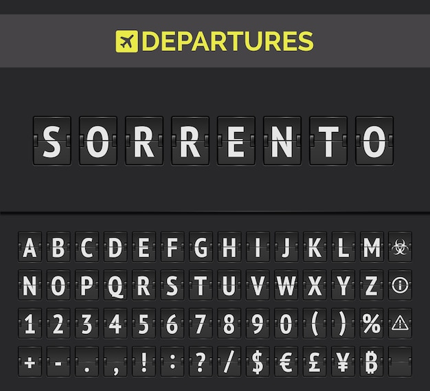 Realistische flip scoreboard flughafen vorlage. schwarzes flughafenbrett mit alphabet, zahlen und symbolen. vektor flughafen board isoliert. Premium Vektoren