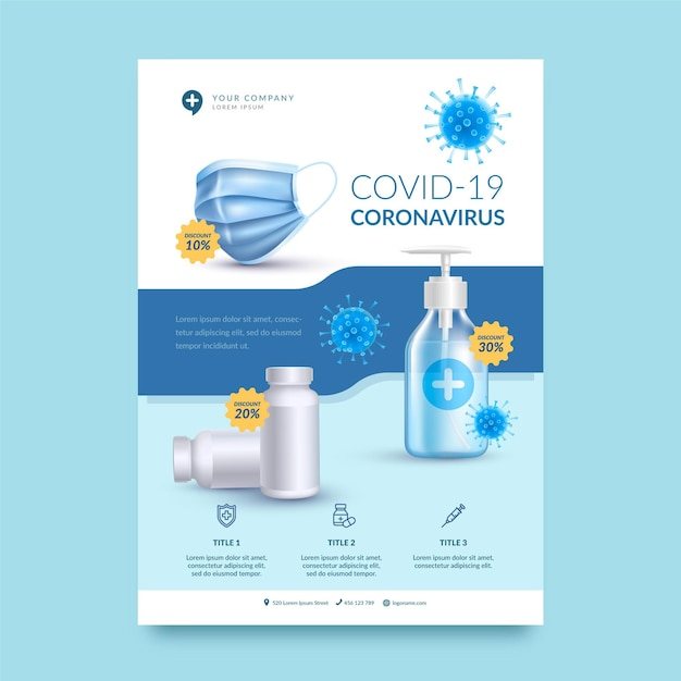 Realistische flyer-vorlage für coronavirus-medizinprodukte Kostenlosen Vektoren