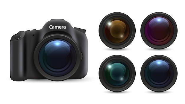 Realistische fotokamera. 3d-linsen isoliert auf weißem hintergrund. fotoausrüstung eingestellt. realistisches kameraobjektiv, professionelle digitale fotografieillustration Premium Vektoren