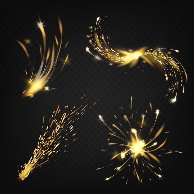 Realistische funkenbildung beim schweißen oder schneiden von metall, feuerwerk hell leuchtender komet Kostenlosen Vektoren