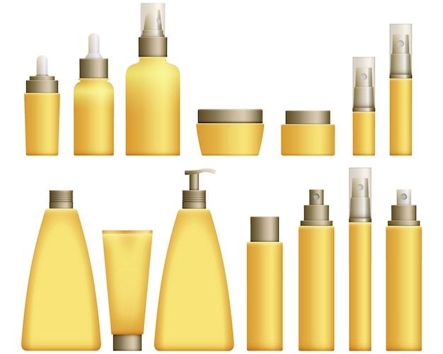 Realistische gelbe kosmetikflaschen eingestellt Premium Vektoren