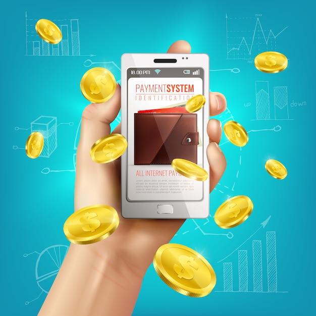Realistische geldbörsenbegriffszusammensetzung mit smartphone in der menschlichen hand und in den goldenen münzen mit finanzskizzen Kostenlosen Vektoren
