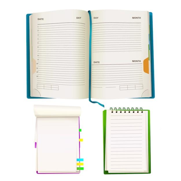 Realistische geöffnete notizblockorganisatorplaner mit leeren papierblättern, gewundene mappen Kostenlosen Vektoren