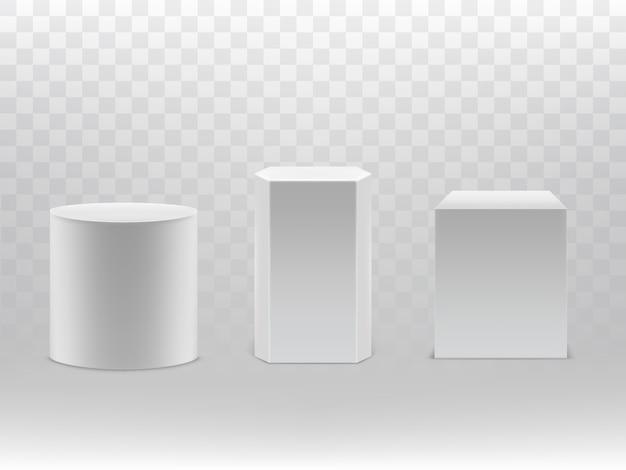 Realistische geometrische formen 3d getrennt auf transparentem hintergrund. Kostenlosen Vektoren