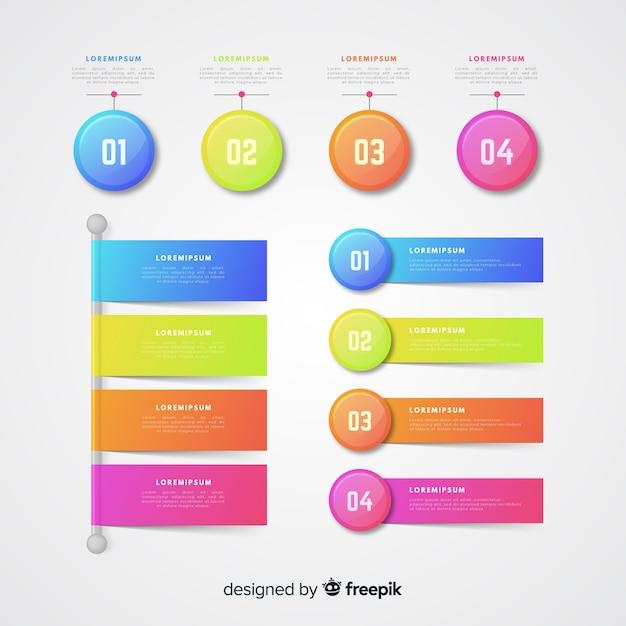 Realistische glänzende kunststoff infographik elementsammlung Kostenlosen Vektoren