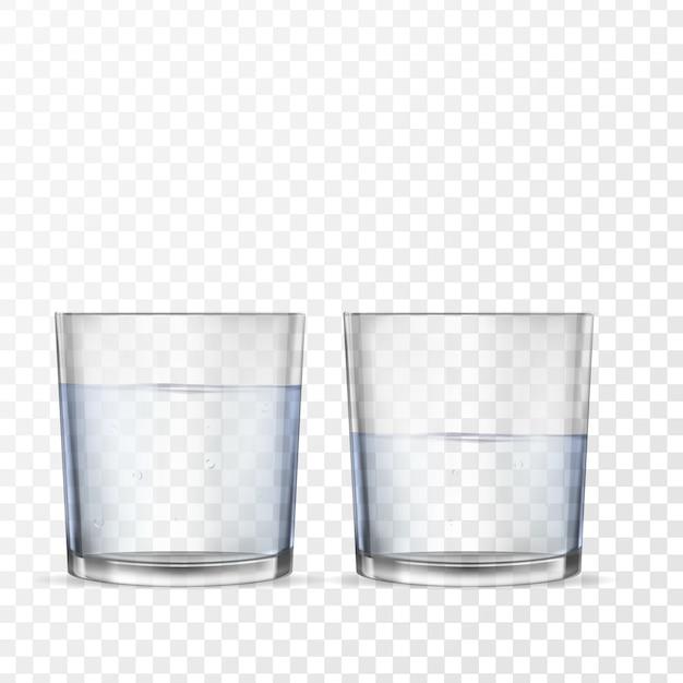 Realistische gläser für getränke mit wasser Premium Vektoren