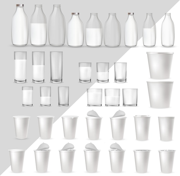 Realistische glasgläser Premium Vektoren