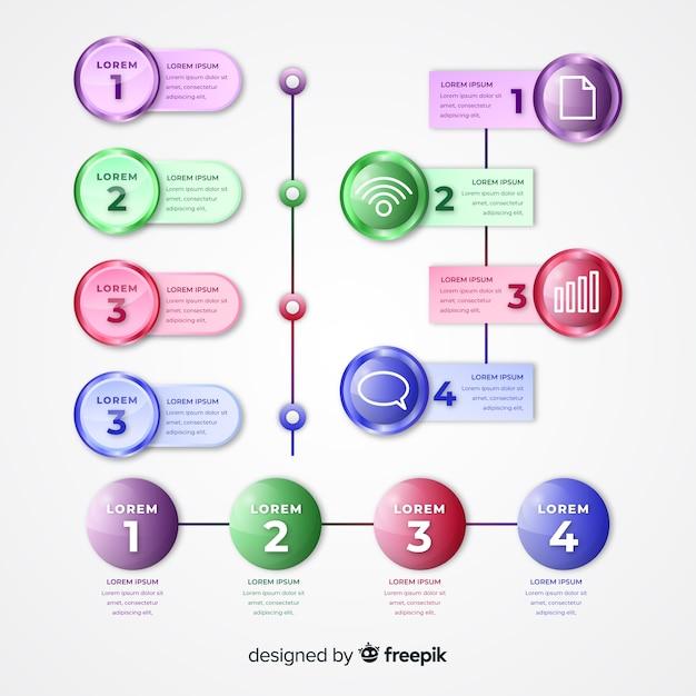 Realistische glatte bunte zeitachse infographic Kostenlosen Vektoren