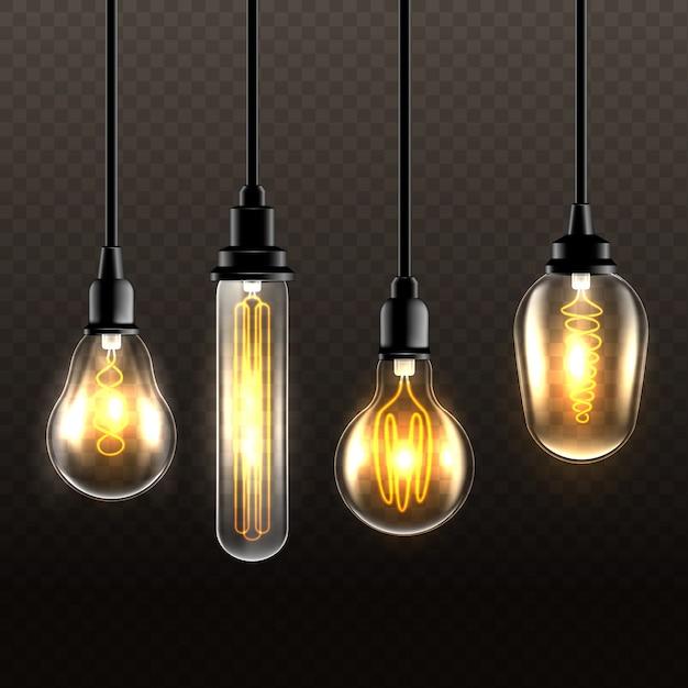 Realistische glühlampen auf transparentem hintergrund Kostenlosen Vektoren