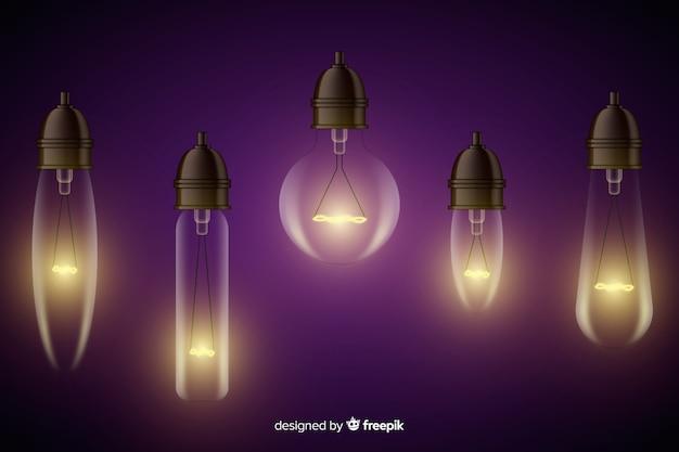 Realistische glühlampensammlung Kostenlosen Vektoren
