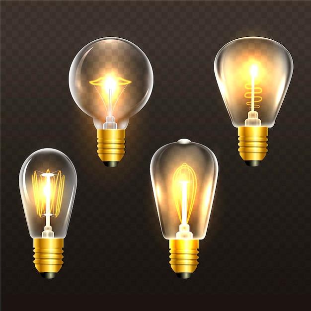Realistische goldene glühlampen auf transparentem hintergrund Kostenlosen Vektoren