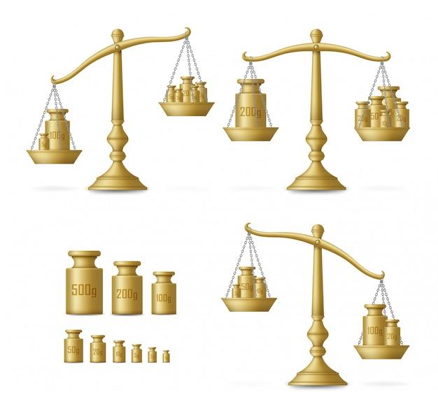 Realistische goldene schuppen mit unterschiedlichen waagen. illustration. Premium Vektoren