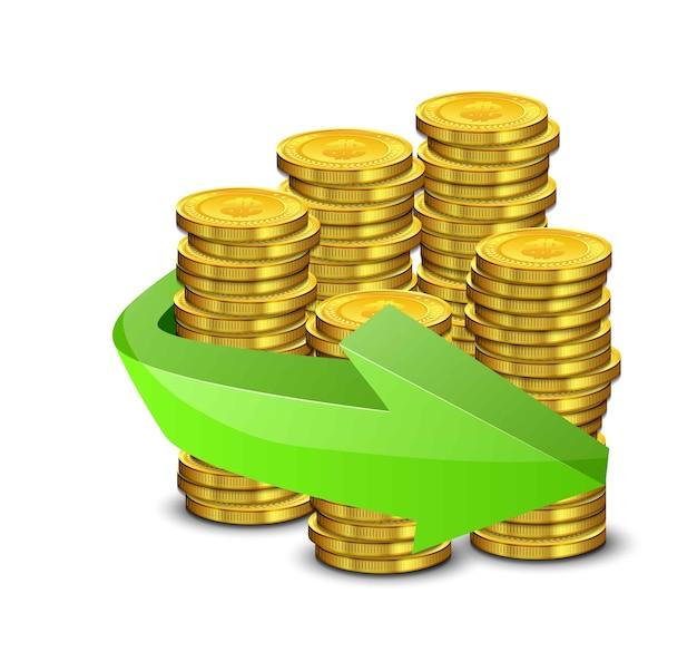 Realistische goldmünzen und grüner pfeil auf einem weißen hintergrund Premium Vektoren