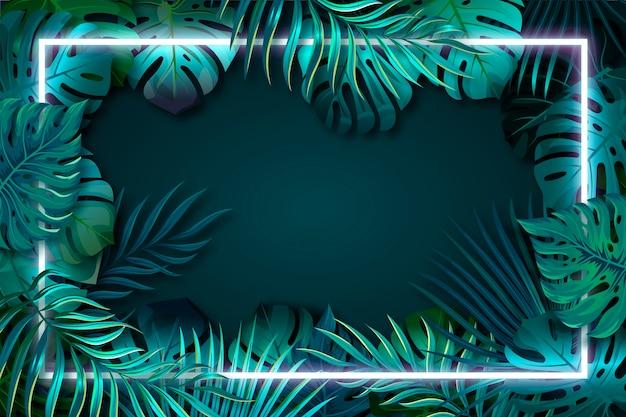 Realistische grünblätter mit neonrahmen Kostenlosen Vektoren