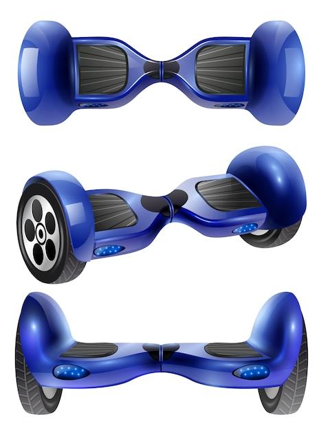 Realistische gyro scooter 3 bilder set Premium Vektoren