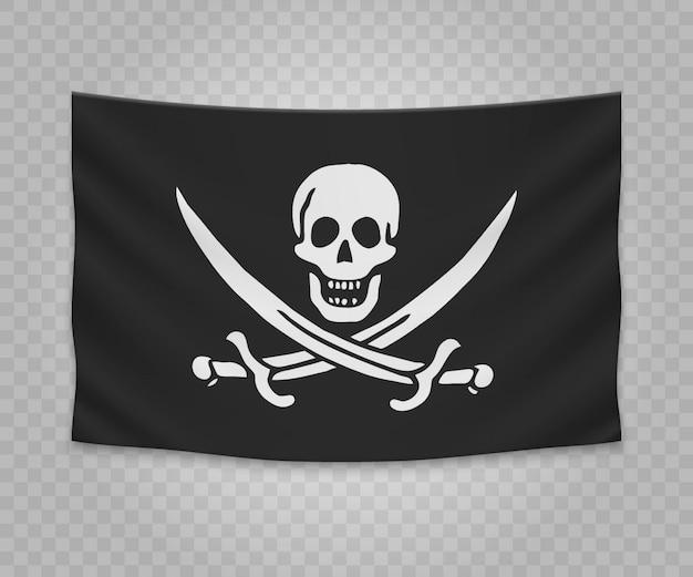 Realistische hängende flagge des piraten jolly roger Premium Vektoren