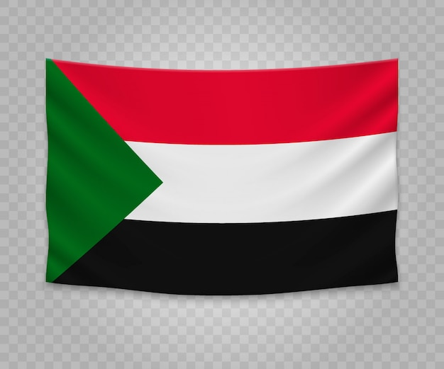 Realistische hängende flagge des sudan Premium Vektoren