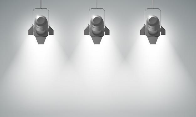 Realistische hängende scheinwerferkomposition mit drei hellen strahlen Kostenlosen Vektoren