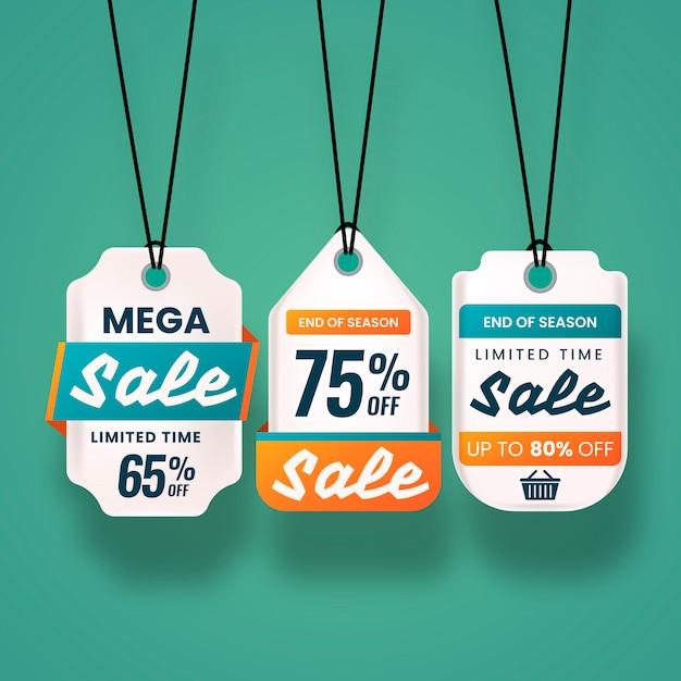 Realistische hängende verkaufsaufkleberansammlung Kostenlosen Vektoren