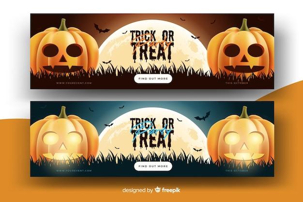 Realistische halloween-banner mit kürbissen Kostenlosen Vektoren