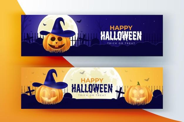 Realistische halloween-banner packen Kostenlosen Vektoren