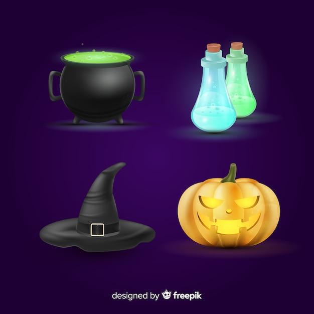 Realistische halloween-elementsammlung Kostenlosen Vektoren