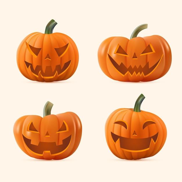 Realistische halloween-kürbiskollektion Kostenlosen Vektoren
