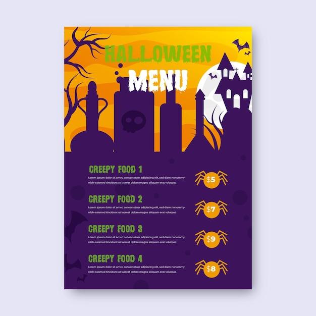 Realistische halloween-menüvorlage mit spinnen Kostenlosen Vektoren